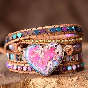 Jasper Leather Handmade Beaded Wrap Bracelet